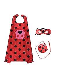 Ladybug Marinette Halloween Christmas Costume Kids Party Clothes Mask Superman Cloak