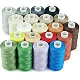 Simthread 20 Multi Colors 100% Cotton Sewing Thread 50s/3 for Quilting etc - 550 Yards Each (All 20 Colors)