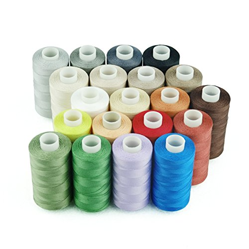 Simthread 20 Multi Colors 100% Cotton Sewing Thread 50s/3 for Quilting etc - 550 Yards Each (All 20 Colors) -