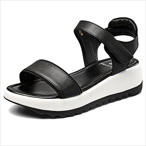 diseño 3cm Sandalias verano tacón medio Estilo de de 4 único Sandalias de Zapatos de ocio talón tacón verano de del mujeres Altura Sandalias deportivo de Sandalias Estudiante playa Sandalias Negro e para de gqZIff