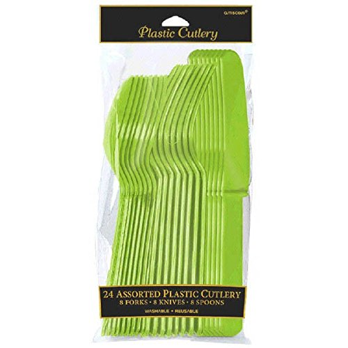 Reusable Party Cutlery Set Tableware, Kiwi Green, Plastic , Full Size, Pack of (Kiwi Forks)