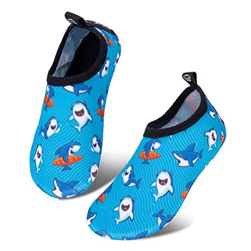 Kids Water Swim Shoes Barefoot Aqua Socks Shoes Quick Dry Non-Slip Baby Boys & Girls (Little Shark, 18/19)