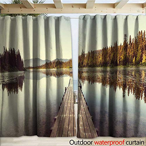 warmfamily Fall Outdoor Waterproof Curtain Wooden Pier on The Lake Serene Morning in The Woods Fishing Misty Recreational Image W120 x L108 Multicolor (Right Lighted Pier)