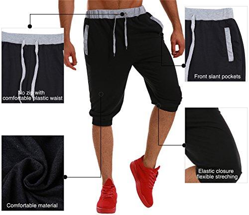 Casuale Nero Tasche Pantaloncini Modchok Sportivo Cordone Jogging Bermuda Uomo Sportivi wHxzq0g