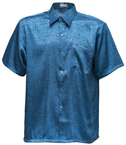 navasilk Men's Shirt Short Sleeve Jacquard Thai Silk (XL, Turquoise) (Silk Turquoise Thai)
