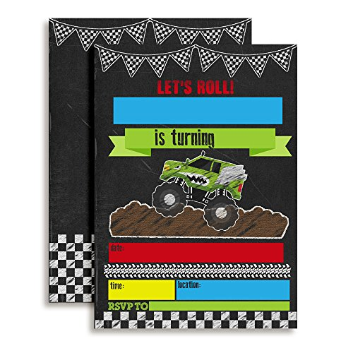 Monster Truck Chalkboard Birthday Party Invitations, Ten 5