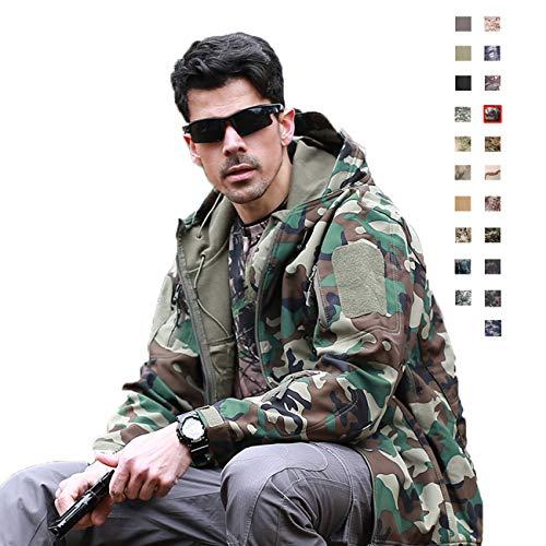 Military Ba Jackets Hooded Mountain Fleece Cashmere Outwear-Jungle Camouflage 3XL (Chinchilla Coats Men)