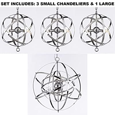 Set of 3 Over Island with ONE Large Over Kitchen Table Wrought Chrome Orb Chandelier
