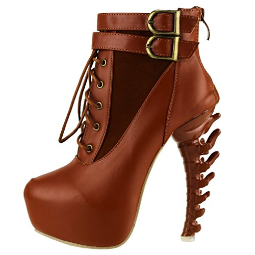 LF40601 Brown Bone Boots Up Story top Platform Buckle Heel Ankle Lace High High Show qOawY7wx