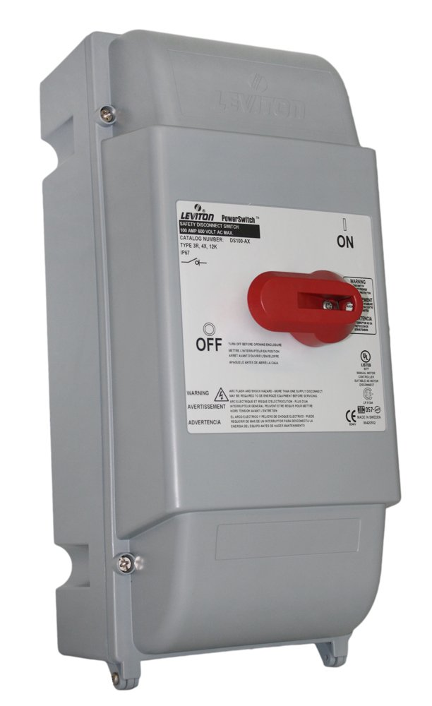 Leviton DS100-AX 100 Amp, 600 Volt, Non-Fused Safety Disconnect Switch, 3 Pole, Watertight, IP67, Gray