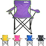 just be.Folding Camping Chair - Purple with Green Trim