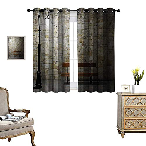 Street Window Curtain Drape Modern Avenue at Dark Night with a Open Lamp and Bench and Stone Wall Behind Image Decorative Curtains for Living Room W63 x L63 - Ashton Wall Lamp