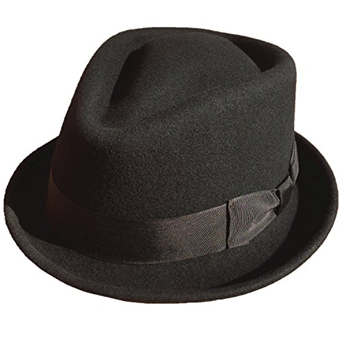 Stingy Brim Fedora Trilby (Black Wool Felt Men Trilby Fedora Hat Stingy Brim Diamond Crown (M= 57cm( 7 1/8)))