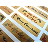 Merry, Happy Christmas Greeting Stickers, Gold Self-Stick Labels for Cards, Envelopes, Craft, Decoration