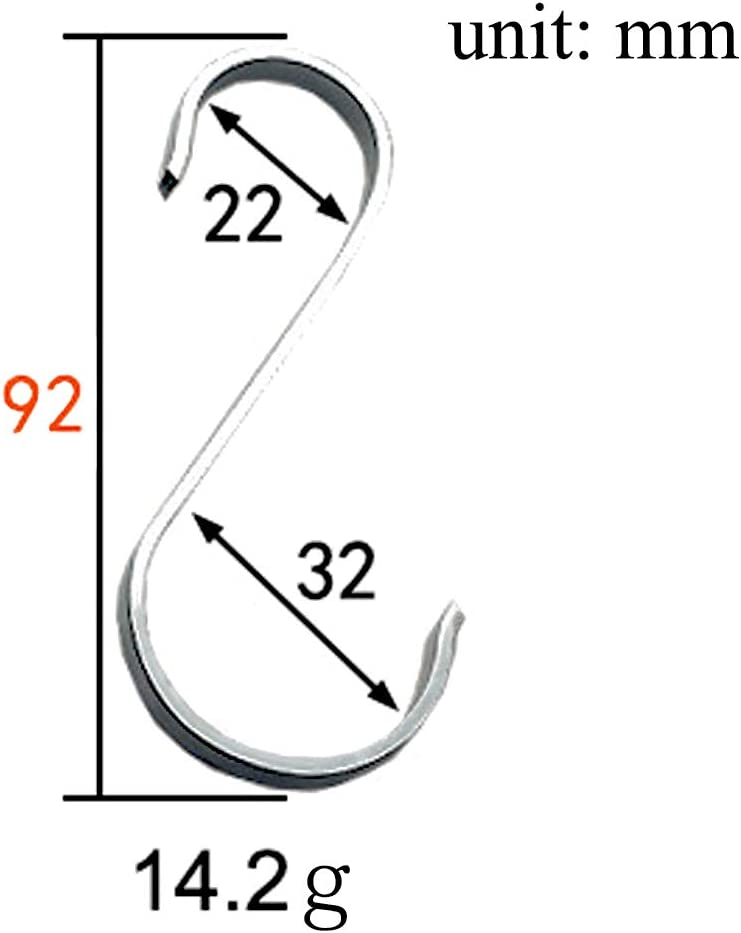 Plata S Hook con Dise/ño de Apertura Apretada Ganchos en Forma de S 8 PCS Ganchos para Colgar S Ganchos Cocina Metal Acero Inoxidable Ganchos para el Gabinete de la Cocina Oficina Dormitorio Ba/ño
