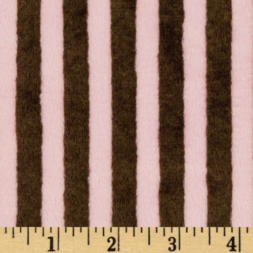 Shannon Minky Striped Cuddle Brown/Pink Fabric By The Yard