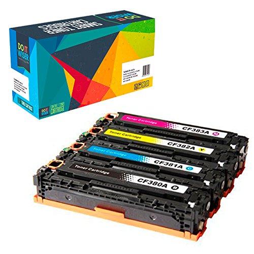 Do it Wiser CF380X CF380A 312A 312X Compatible Toner for HP Color Laserjet Pro MFP M476 M476dn M476dw M476nw - CF381A CF382A CF383A - Black 4,400 Colors 2,700 Pages - (Compatible Color Laser Toner)