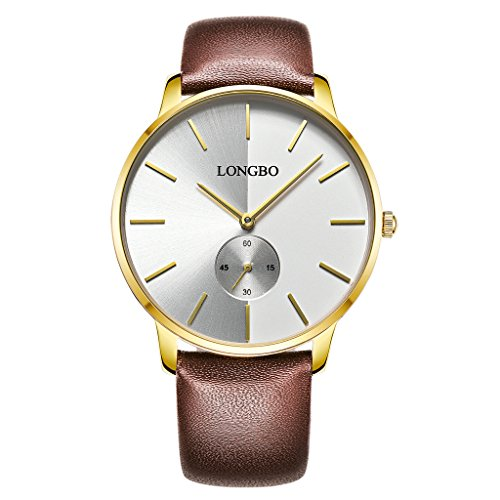 Dial Brown Dress (LONGBO Simple Men's Brown Leather Band Analog Quartz Business Watch Gold Case Couple Dress Watch Fake Chrono Eye Minimalism White Dial Wristwatch For Gentleman)