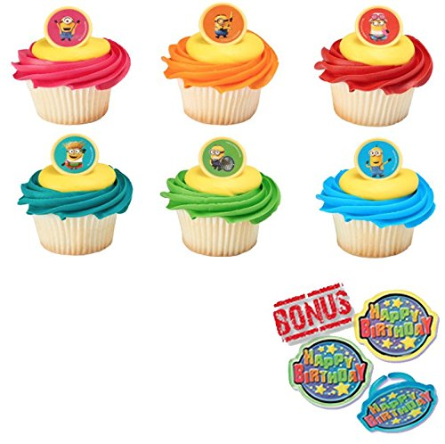 Despicable Me 3 Mayhem Cupcake Toppers and Bonus Birthday Ring - 25 piece -