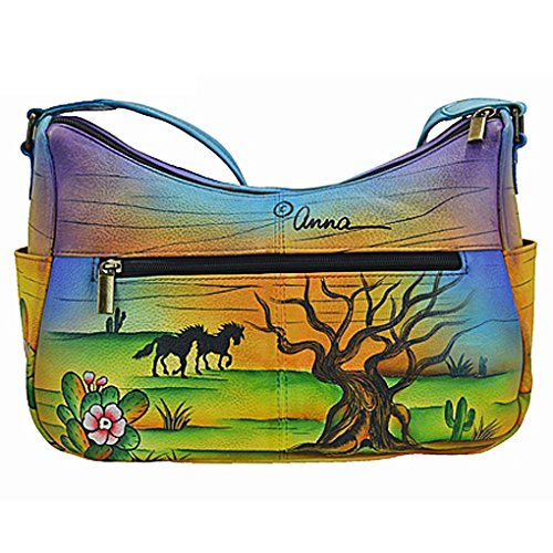 Shoulder Anuschka w Design Real Free Hand Painted Holder by 2 Purse Leather Anna Arisona Mustang on E Handbag E5qA6