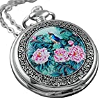 VIGOROSO Quartz Beautiful Peony Bird Enamel Painting Steampunk Silver Pocket Watches Gift Box 8