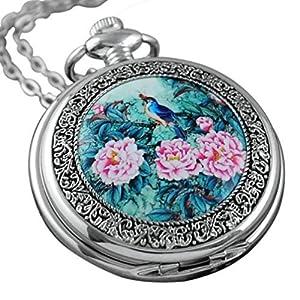 VIGOROSO Quartz Beautiful Peony Bird Enamel Painting Steampunk Silver Pocket Watches in Box