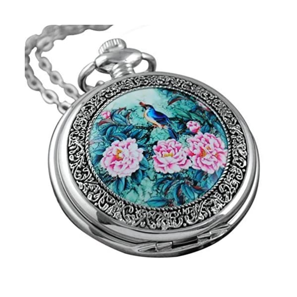 VIGOROSO Quartz Beautiful Peony Bird Enamel Painting Steampunk Silver Pocket Watches Gift Box 3