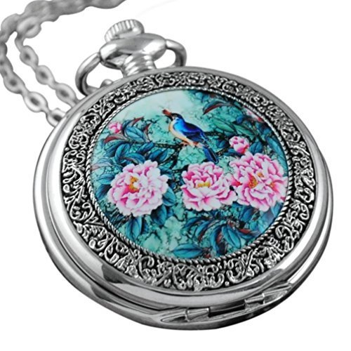 VIGOROSO Quartz Beautiful Peony Bird Enamel Painting Steampunk Silver Pocket Watches Gift Box