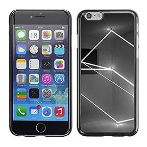 Caucho caso de Shell duro de la cubierta de accesorios de protección BY RAYDREAMMM - Apple iPhone 6 - Lightshow Rectangle Black White