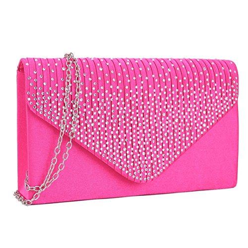 Dasein Ladies Frosted Satin Evening Clutch Purse Bag Crossbody Handbags Party Prom Wedding Envelope (41074 Fuchsia)