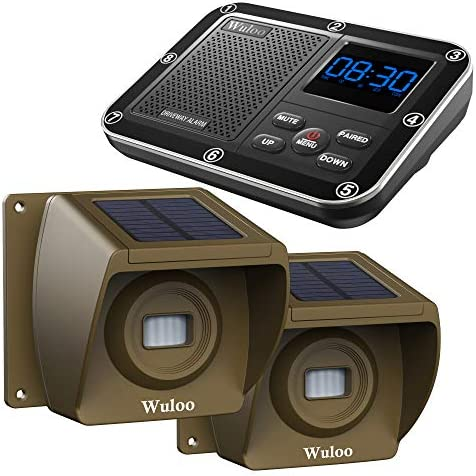 Solar Driveway Alarm Wireless Outside 1800ft Range, Outdoor Motion Sensor Detector Driveway Alert System with Rechargeable Battery Weatherproof Mute Mode