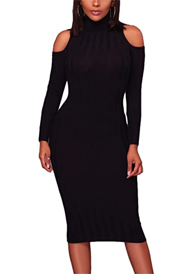 79629671ee7 Famnbro Womens Work High Collars Cold Shoulder Long Sleeves Bodycon Midi  Dress