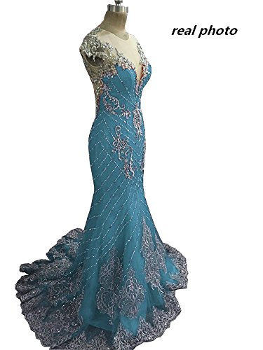 Tsbridal Luxury Mermaid Prom Dresses 2017 Lace Crystals Teal Party Dress-US2
