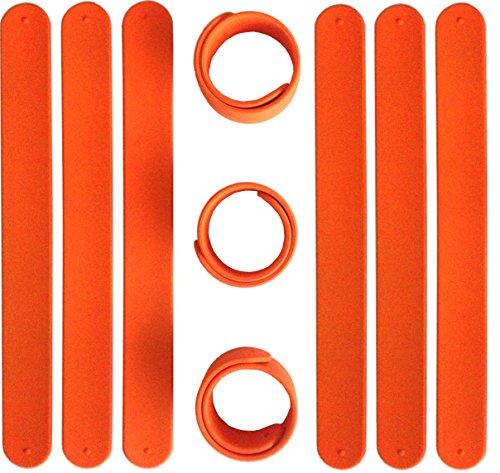 9 ORANGE Silicone Slap Bracelets - Soft & Safe for Kids Boys & Girls Party Favors - Durable