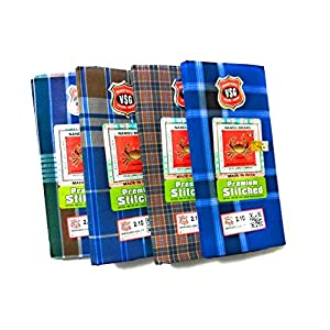 Nandu Brand Men's Cotton Stitched Lungi (Pattern May Vary, Multicolour, Free Size) – Pack of 4