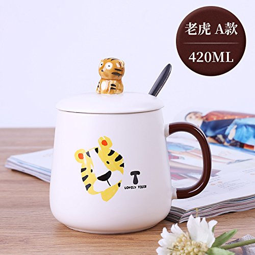 MOCER Lindo Mug tapa de cerámica cuchara taza de leche taza taza Desayuno Avena Animal Cartoon Oficina taza de agua, un elefante (420ml).: Amazon.es: Hogar