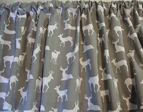 Drapes Pocket Rod Lodge (Valance Gray with White Deer Silhouette Decorator Fabric Window Treatment Custom Made)