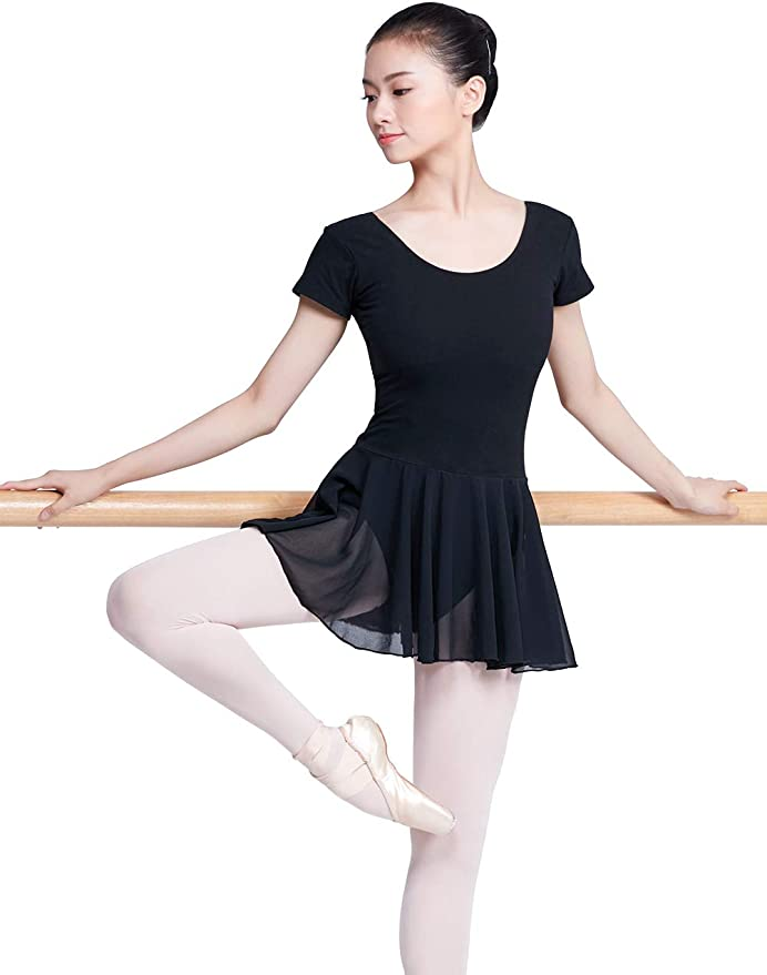 DANSHOW Girls/' Skirted Leotards for Dance Ballet with Puff Sleeve and Tulle Neckline