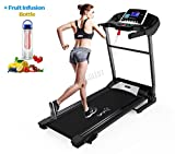 FoxHunter Heavy Duty Folding Motorized Electric Treadmill Running Fitness Exercise Machine Manual With Free Water Bottle MP3 Indoor Sport Gym Pro Jogging MT04 KBR-JK3706-2B Black New