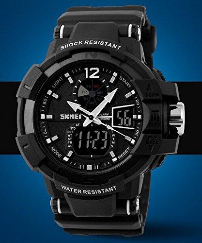 Men's Tough Design Multifunctional Military S-shock Dual Time Zones Sport Wrist Watch - White