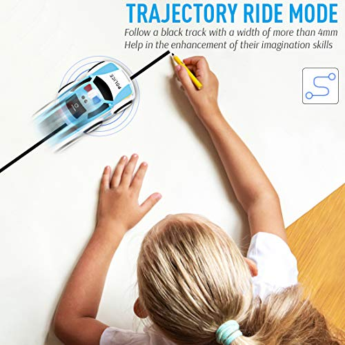 Toy Police Car with Remote and Sounds, Friction Powered Car Toys Vehicle with 4 Modes, 2.4GHZ Gravity Sensor, 360° Rotation, Infrared Sensor, Toy Car for 3+ Years Old Child Kids Boys Girls