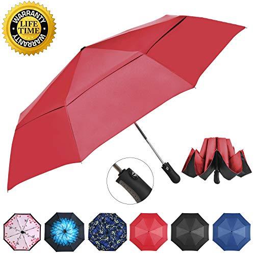Prodigen Inverted Reverse Folding Umbrella Compact Travel Umbrella Windproof UV Sun & Rain Umbrella Inside Out Umbrella for Women & Men - Auto Open Close (Wine Red)
