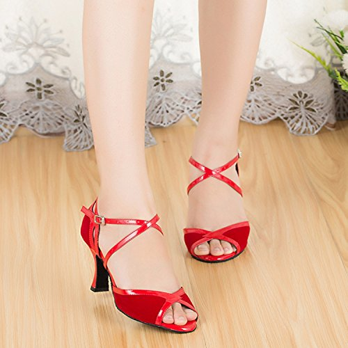 CM109 TDA Sandals Salsa Dance Wrap Red Latin Womens Ballroom Tango Toe Party Peep Suede Ankle gdwdfrxq