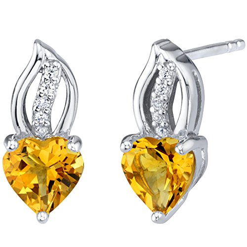 Citrine Sterling Silver Heart Earrings 1.50 Carats Total