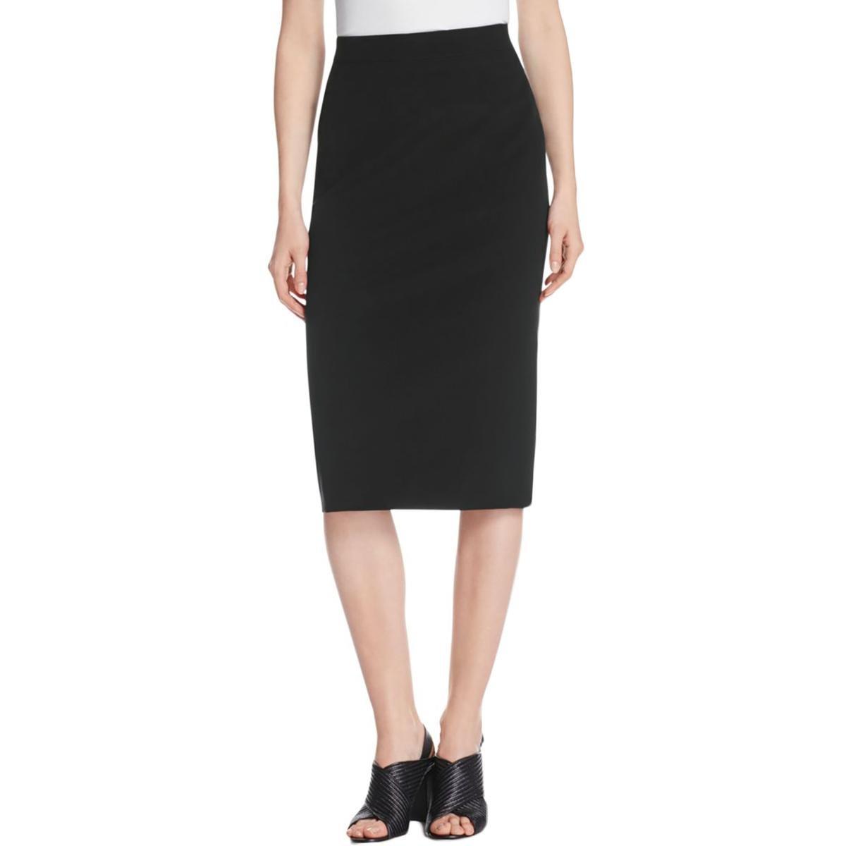 DKNY Womens Back Slit Seam Detail Pencil Skirt Black 4 by DKNY