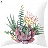 pengyu Cactus Tropical Plant Pillow Case Sofa Waist Throw Cushion Cover Home Office Living Room Sofa Car Decorative Square 18 X 18 inch