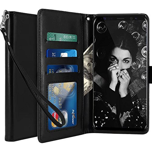 Galaxy Note 8 Case, LK [Wrist Strap] Luxury PU Leather Wallet Flip Protective Case Cover with Card Slots and Stand for Samsung Galaxy Note 8