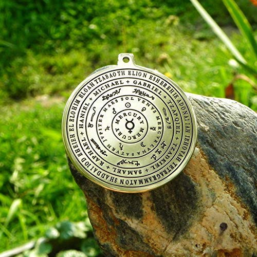 The planets, the names of God and the Seven Archangels amulet. Mercury pendant