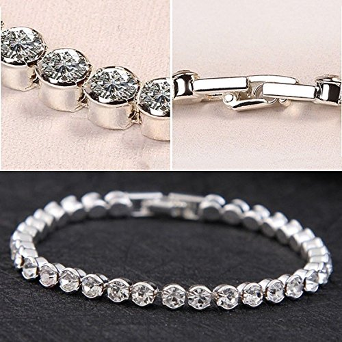 Silver Plated Crystals Tennis Bracelet Rhinestone Diamond Bing Hot Bridal Party Prom Jewelry - Hot Diamonds Tennis Bracelet