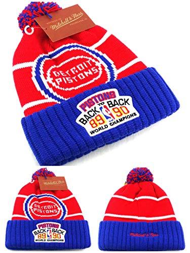 (Mitchell & Ness Detroit Pistons 1989 1990 Champions Pom/Cuff Hat - OSFA -)